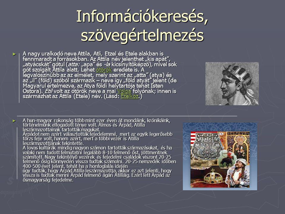 """Információkeresés, szövegértelmezés ► A nagy uralkodó neve Attila, Atli, Etzel és Etele alakban is fennmaradt a forrásokban. Az Attila név jelenthet """""""
