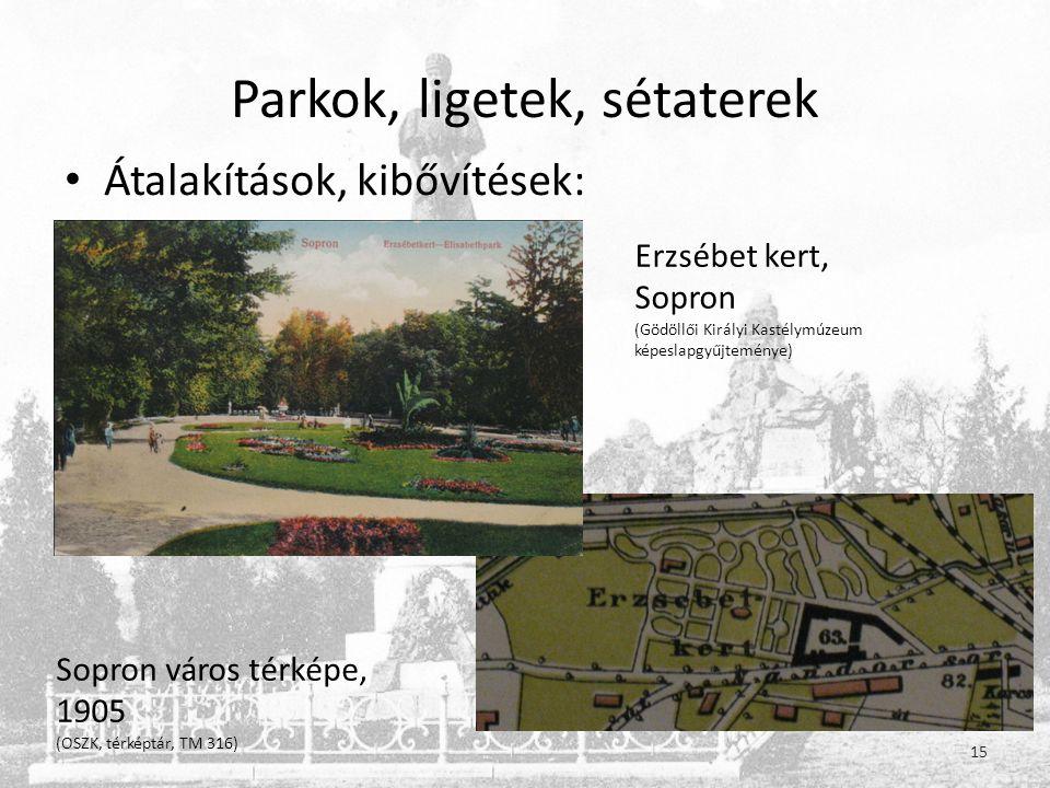 Parkok, ligetek, sétaterek • Átalakítások, kibővítések: 15 Erzsébet kert, Sopron (Gödöllői Királyi Kastélymúzeum képeslapgyűjteménye) Sopron város térképe, 1905 (OSZK, térképtár, TM 316)