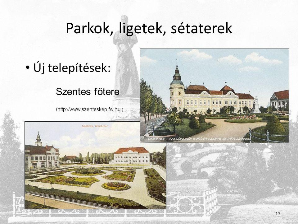 Parkok, ligetek, sétaterek 17 • Új telepítések: Szentes főtere (http://www.szenteskep.fw.hu )
