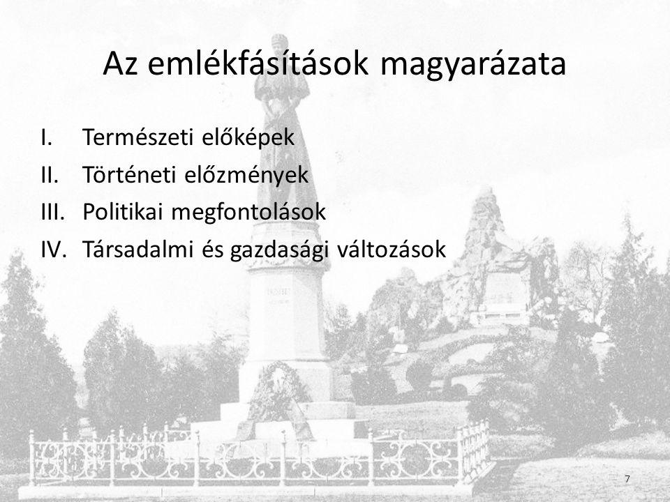 Az emlékfásítások magyarázata I.Természeti előképek II.Történeti előzmények III.Politikai megfontolások IV.Társadalmi és gazdasági változások 7