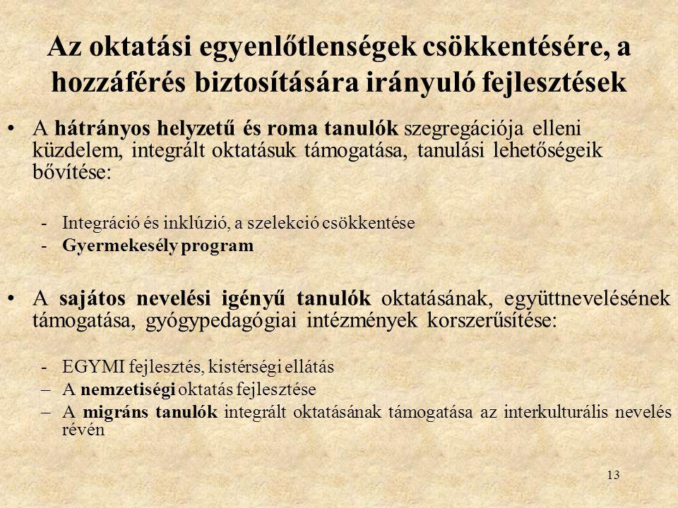 13 Az oktatási egyenlőtlenségek csökkentésére, a hozzáférés biztosítására irányuló fejlesztések •A hátrányos helyzetű és roma tanulók szegregációja elleni küzdelem, integrált oktatásuk támogatása, tanulási lehetőségeik bővítése: -Integráció és inklúzió, a szelekció csökkentése -Gyermekesély program •A sajátos nevelési igényű tanulók oktatásának, együttnevelésének támogatása, gyógypedagógiai intézmények korszerűsítése: -EGYMI fejlesztés, kistérségi ellátás –A nemzetiségi oktatás fejlesztése –A migráns tanulók integrált oktatásának támogatása az interkulturális nevelés révén