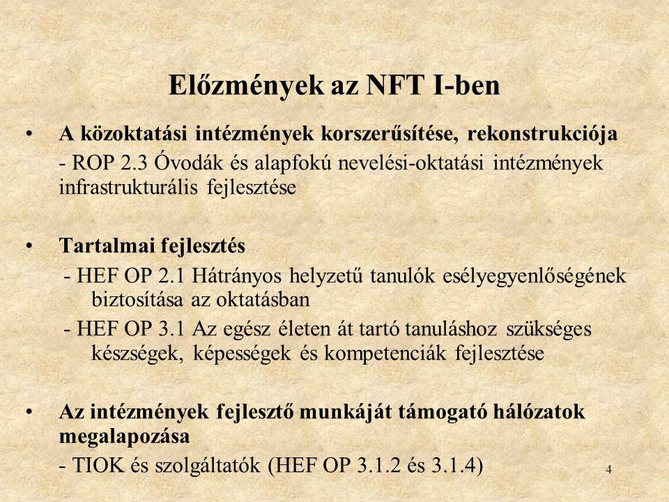 5 Várt eredmények az NFT I.