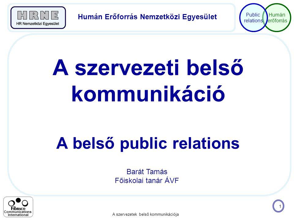 Humán erőforrás Public relations A szervezetek belső kommunikációja 1 Communications International A szervezeti belső kommunikáció A belső public rela