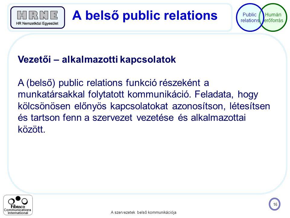 Humán erőforrás Public relations A szervezetek belső kommunikációja 16 Communications International Vezetői – alkalmazotti kapcsolatok A (belső) publi