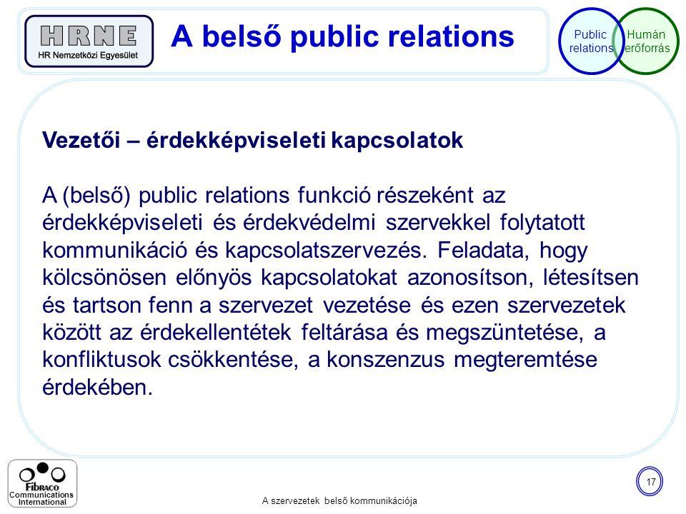 Humán erőforrás Public relations A szervezetek belső kommunikációja 17 Communications International Vezetői – érdekképviseleti kapcsolatok A (belső) p