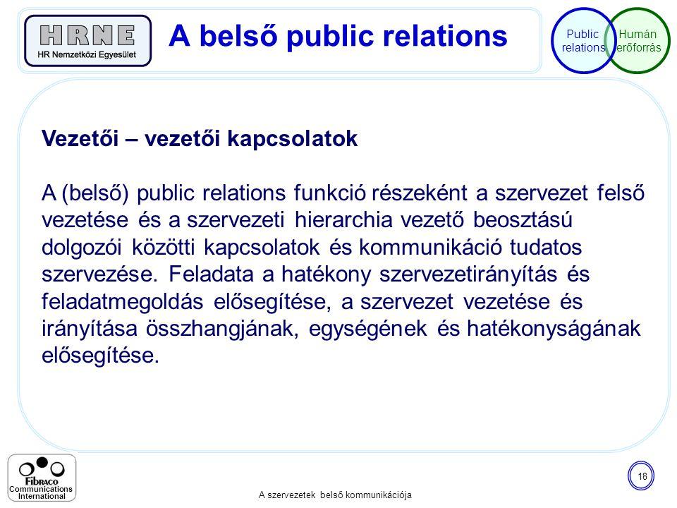 Humán erőforrás Public relations A szervezetek belső kommunikációja 18 Communications International Vezetői – vezetői kapcsolatok A (belső) public rel