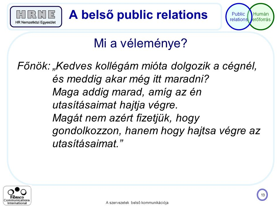 """Humán erőforrás Public relations A szervezetek belső kommunikációja 19 Communications International Mi a véleménye? A belső public relations Főnök: """"K"""