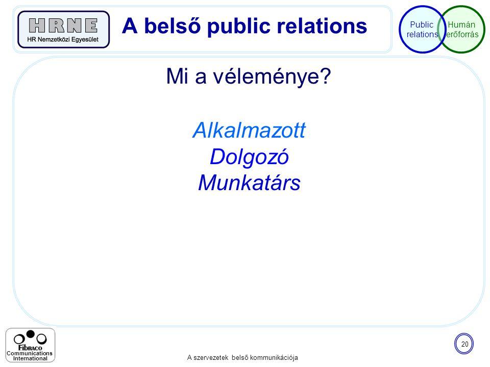Humán erőforrás Public relations A szervezetek belső kommunikációja 20 Communications International Mi a véleménye? A belső public relations Alkalmazo