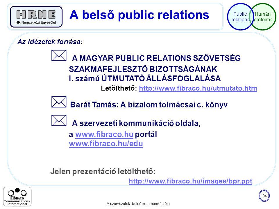 Humán erőforrás Public relations A szervezetek belső kommunikációja 34 Communications International Az idézetek forrása:  A MAGYAR PUBLIC RELATIONS S