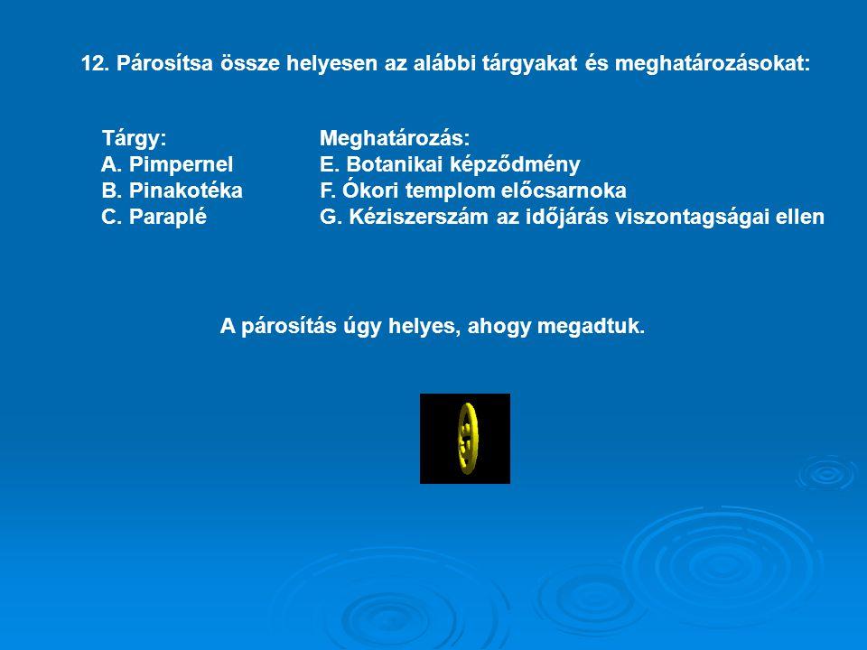 12. Párosítsa össze helyesen az alábbi tárgyakat és meghatározásokat: Tárgy: A. Pimpernel B. Pinakotéka C. Paraplé Meghatározás: E. Botanikai képződmé