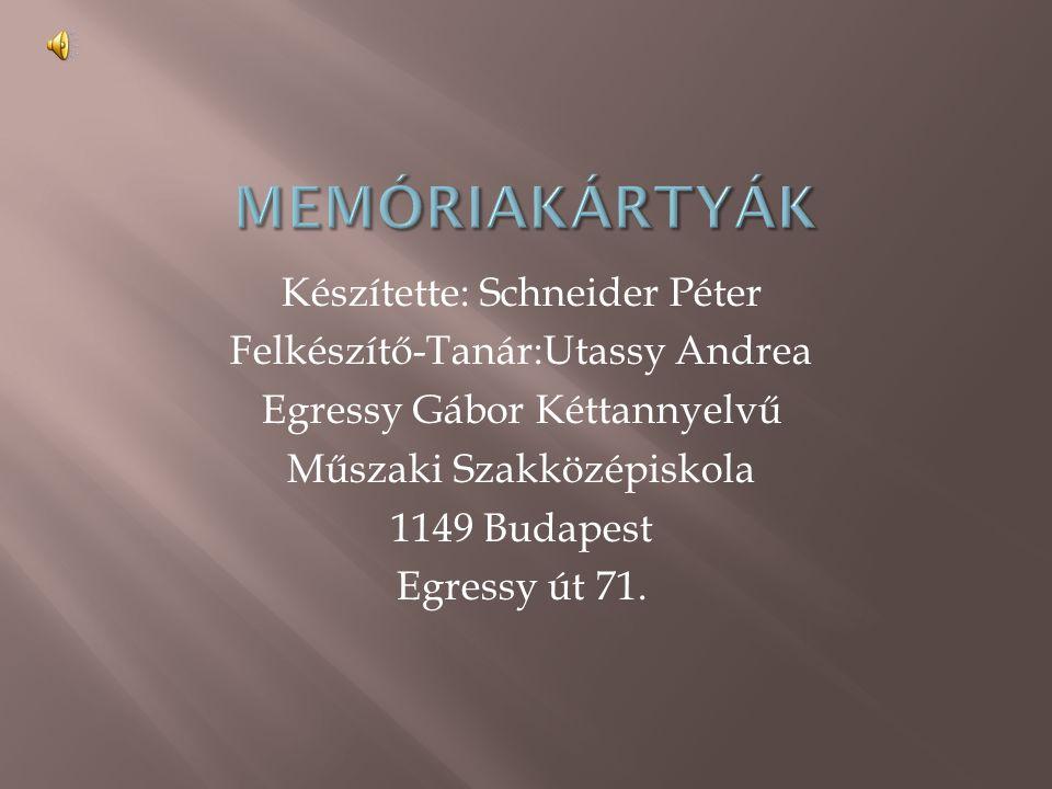 Készítette: Schneider Péter Felkészítő-Tanár:Utassy Andrea Egressy Gábor Kéttannyelvű Műszaki Szakközépiskola 1149 Budapest Egressy út 71.