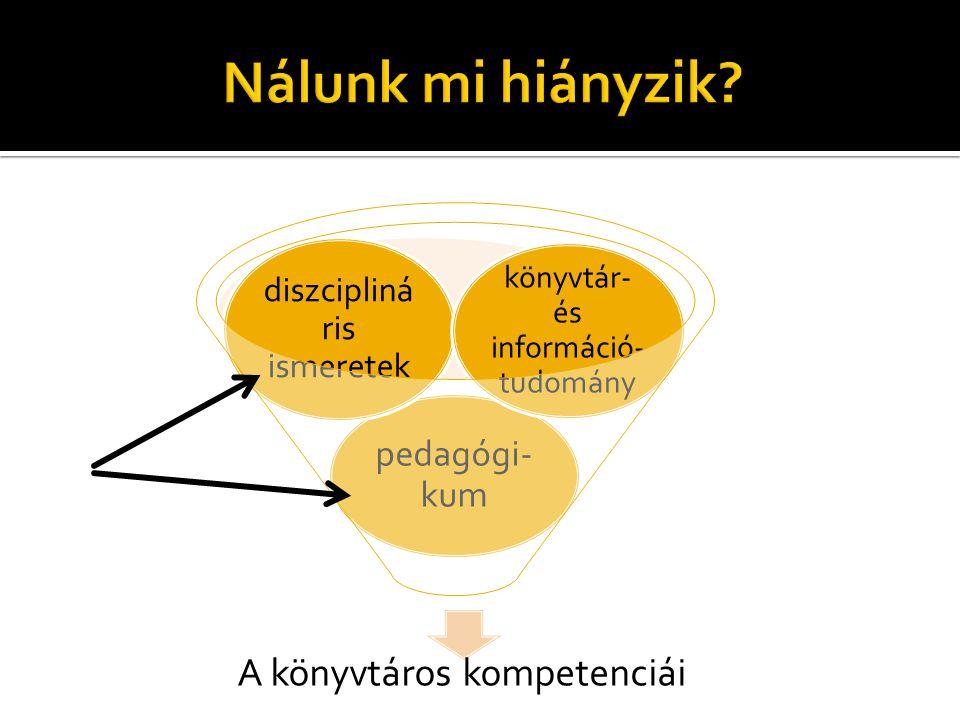 A könyvtáros kompetenciái pedagógi- kum diszcipliná ris ismeretek könyvtár- és információ- tudomány