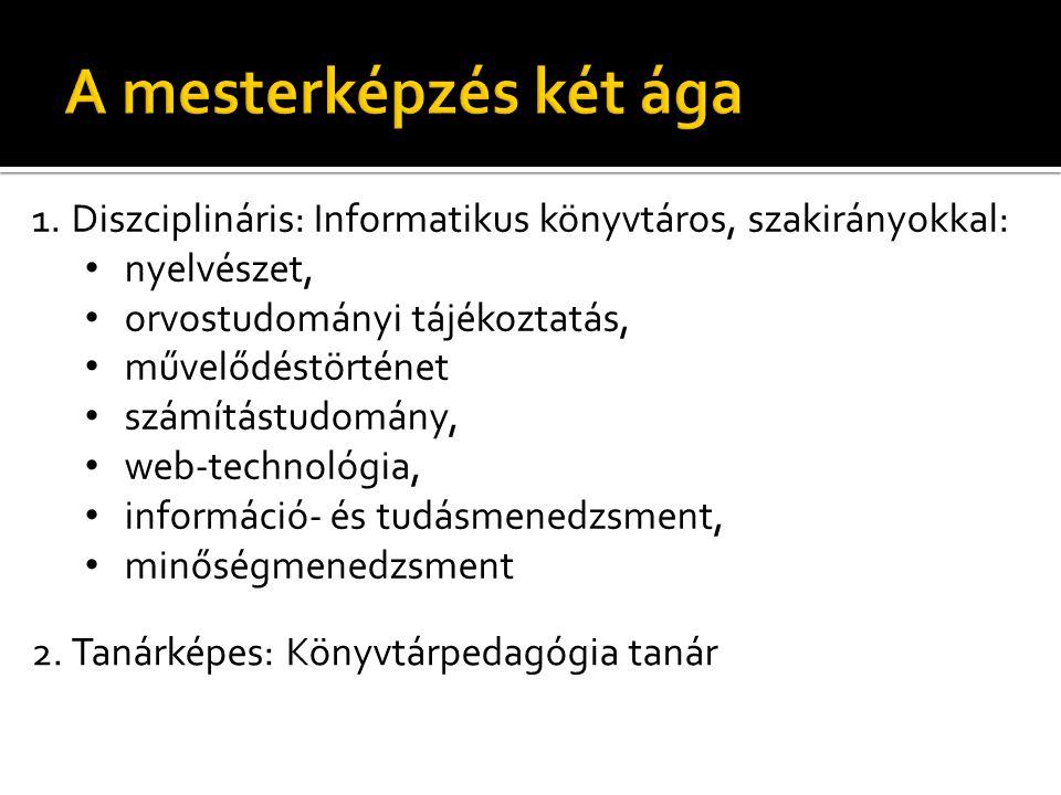 1.Diszciplináris: Informatikus könyvtáros, szakirányokkal: • nyelvészet, • orvostudományi tájékoztatás, • művelődéstörténet • számítástudomány, • web-technológia, • információ- és tudásmenedzsment, • minőségmenedzsment 2.Tanárképes: Könyvtárpedagógia tanár