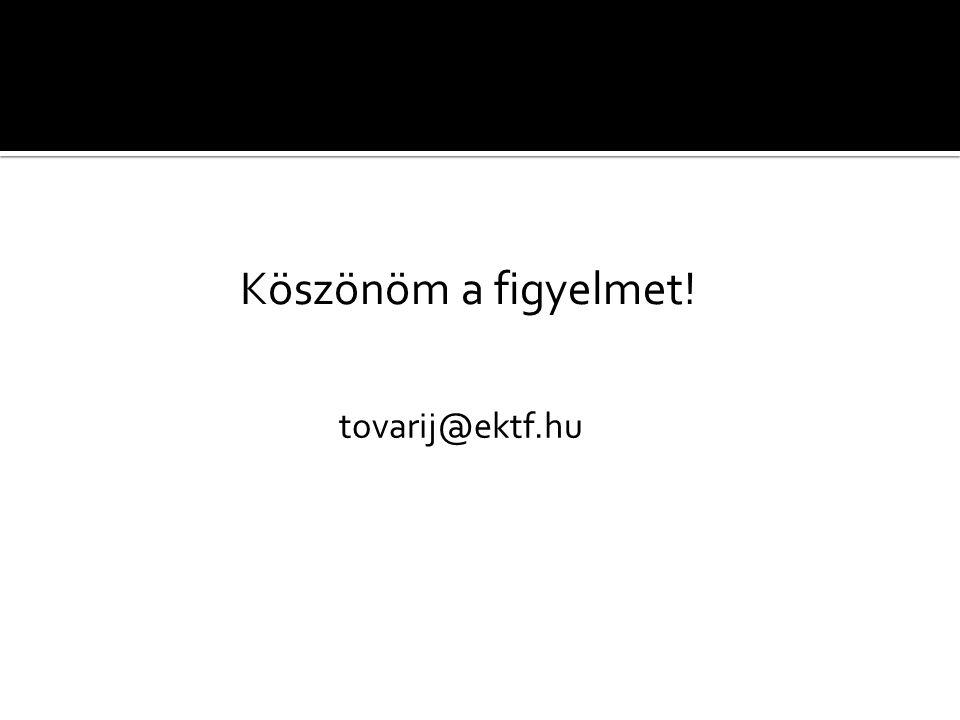 Köszönöm a figyelmet! tovarij@ektf.hu