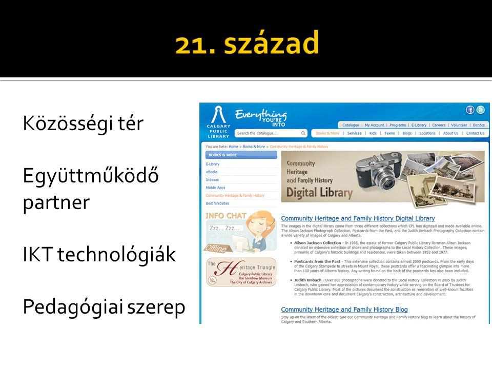 Közösségi tér Együttműködő partner IKT technológiák Pedagógiai szerep
