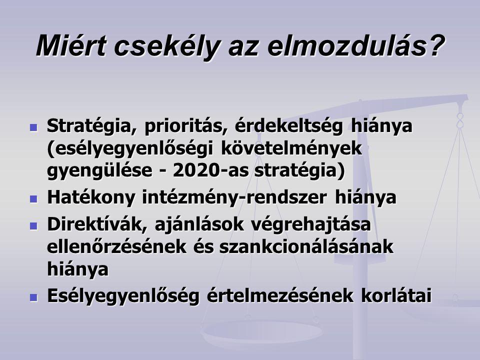 Miért csekély az elmozdulás?  Stratégia, prioritás, érdekeltség hiánya (esélyegyenlőségi követelmények gyengülése - 2020-as stratégia)  Hatékony int