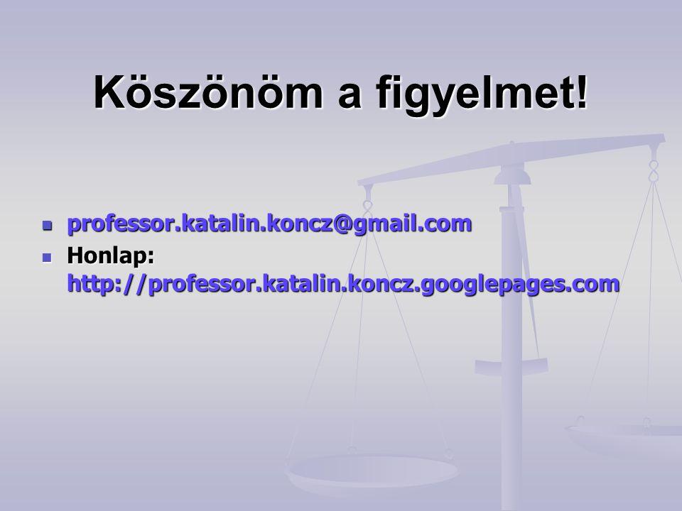 Köszönöm a figyelmet!  professor.katalin.koncz@gmail.com  Honlap: http://professor.katalin.koncz.googlepages.com