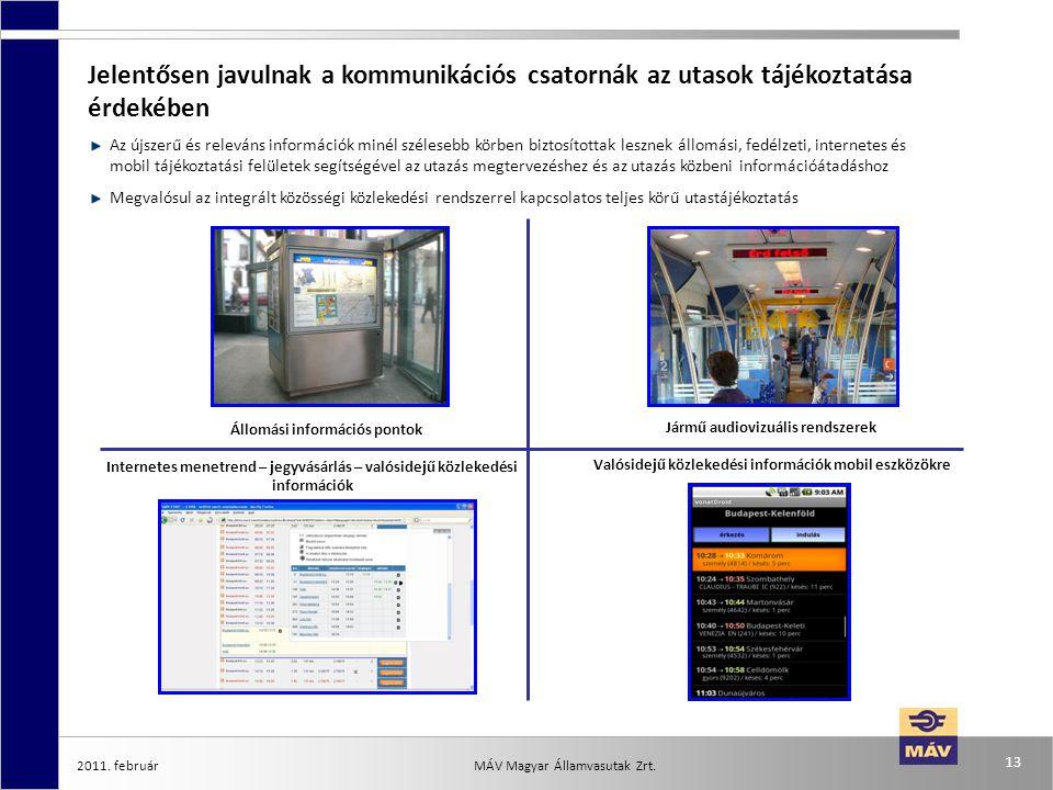 2011. február 13 MÁV Magyar Államvasutak Zrt. Jelentősen javulnak a kommunikációs csatornák az utasok tájékoztatása érdekében Az újszerű és releváns i