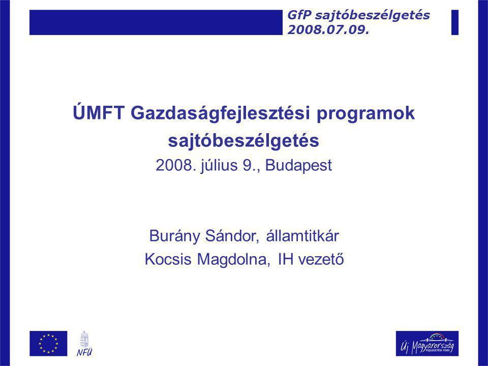 ÚMFT Gazdaságfejlesztési programok sajtóbeszélgetés 2008.