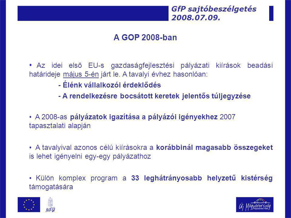 A GOP 2008-ban • Az idei első EU-s gazdaságfejlesztési pályázati kiírások beadási határideje május 5-én járt le.