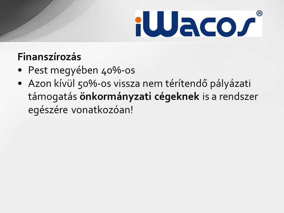 Finanszírozás •Pest megyében 40%-os •Azon kívül 50%-os vissza nem térítendő pályázati támogatás önkormányzati cégeknek is a rendszer egészére vonatkozóan!