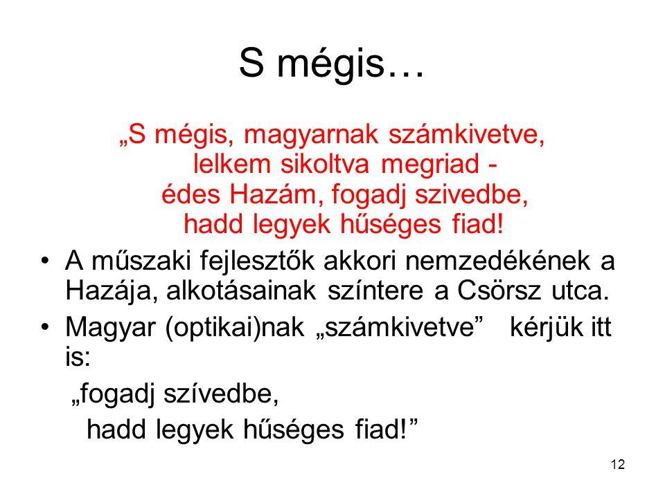 """12 S mégis… """"S mégis, magyarnak számkivetve, lelkem sikoltva megriad - édes Hazám, fogadj szivedbe, hadd legyek hűséges fiad! •A műszaki fejlesztők ak"""