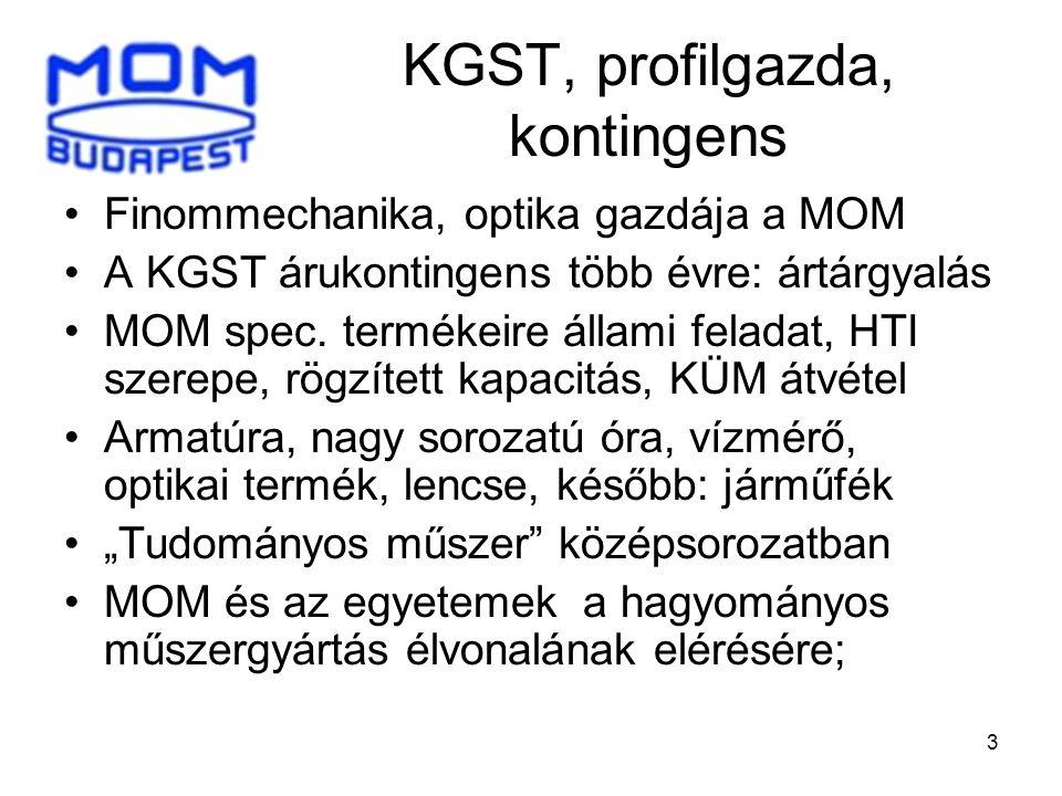 3 KGST, profilgazda, kontingens •Finommechanika, optika gazdája a MOM •A KGST árukontingens több évre: ártárgyalás •MOM spec. termékeire állami felada