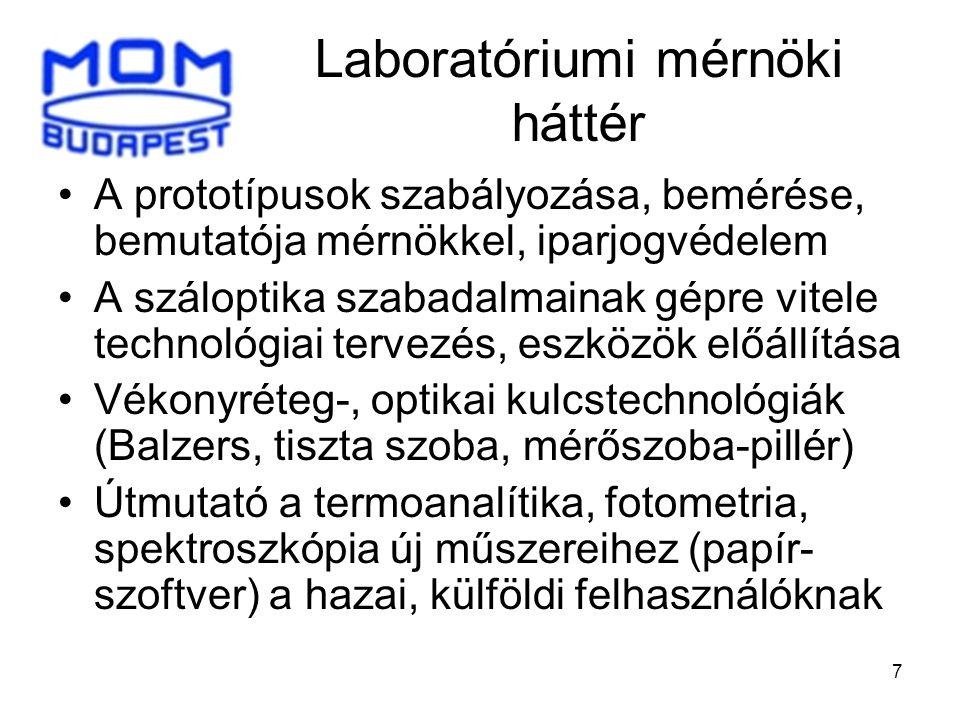 7 Laboratóriumi mérnöki háttér •A prototípusok szabályozása, bemérése, bemutatója mérnökkel, iparjogvédelem •A száloptika szabadalmainak gépre vitele