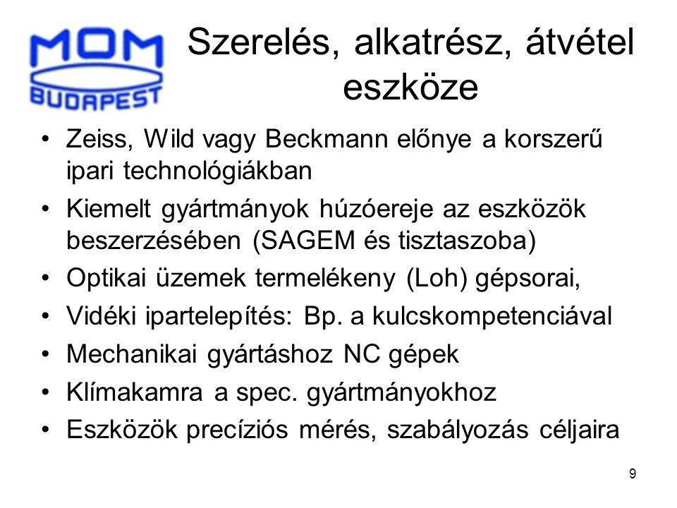 9 Szerelés, alkatrész, átvétel eszköze •Zeiss, Wild vagy Beckmann előnye a korszerű ipari technológiákban •Kiemelt gyártmányok húzóereje az eszközök b