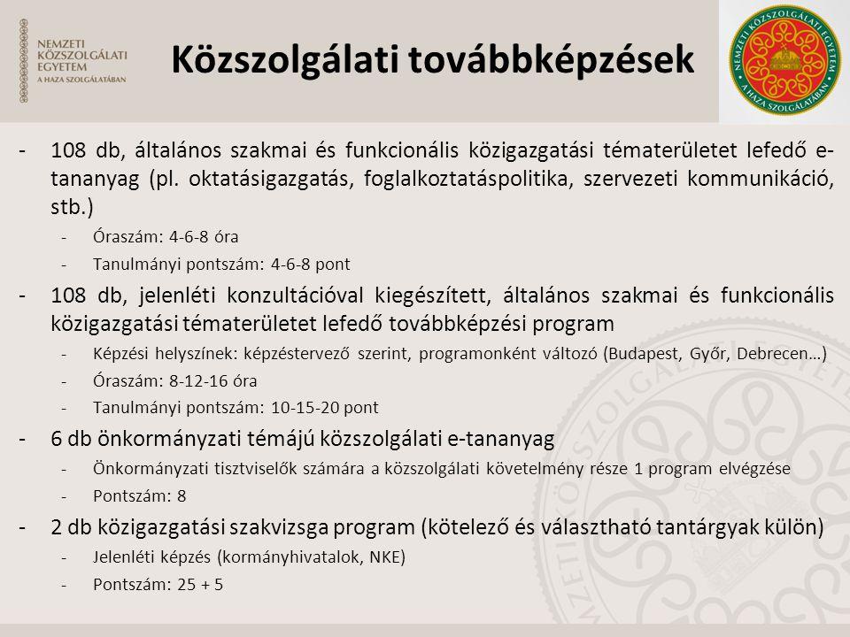 -108 db, általános szakmai és funkcionális közigazgatási tématerületet lefedő e- tananyag (pl. oktatásigazgatás, foglalkoztatáspolitika, szervezeti ko