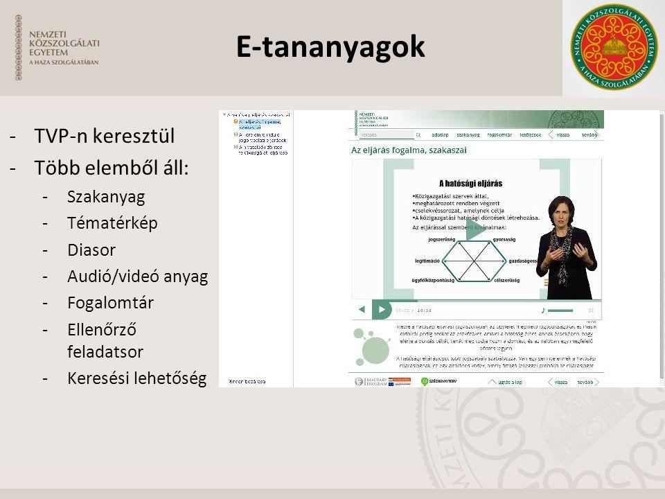 -TVP-n keresztül -Több elemből áll: -Szakanyag -Tématérkép -Diasor -Audió/videó anyag -Fogalomtár -Ellenőrző feladatsor -Keresési lehetőség E-tananyag