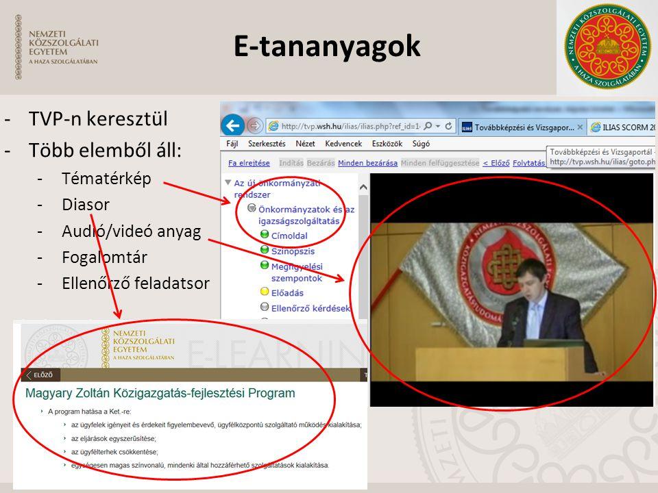 -TVP-n keresztül -Több elemből áll: -Tématérkép -Diasor -Audió/videó anyag -Fogalomtár -Ellenőrző feladatsor E-tananyagok