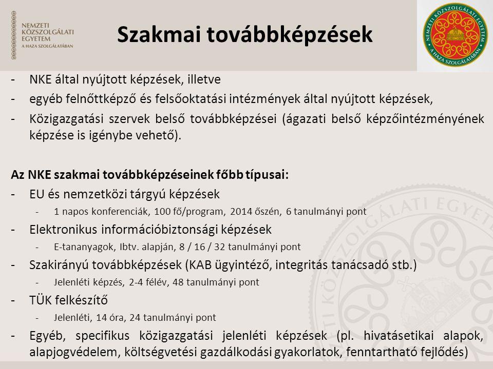 -NKE által nyújtott képzések, illetve -egyéb felnőttképző és felsőoktatási intézmények által nyújtott képzések, -Közigazgatási szervek belső továbbkép