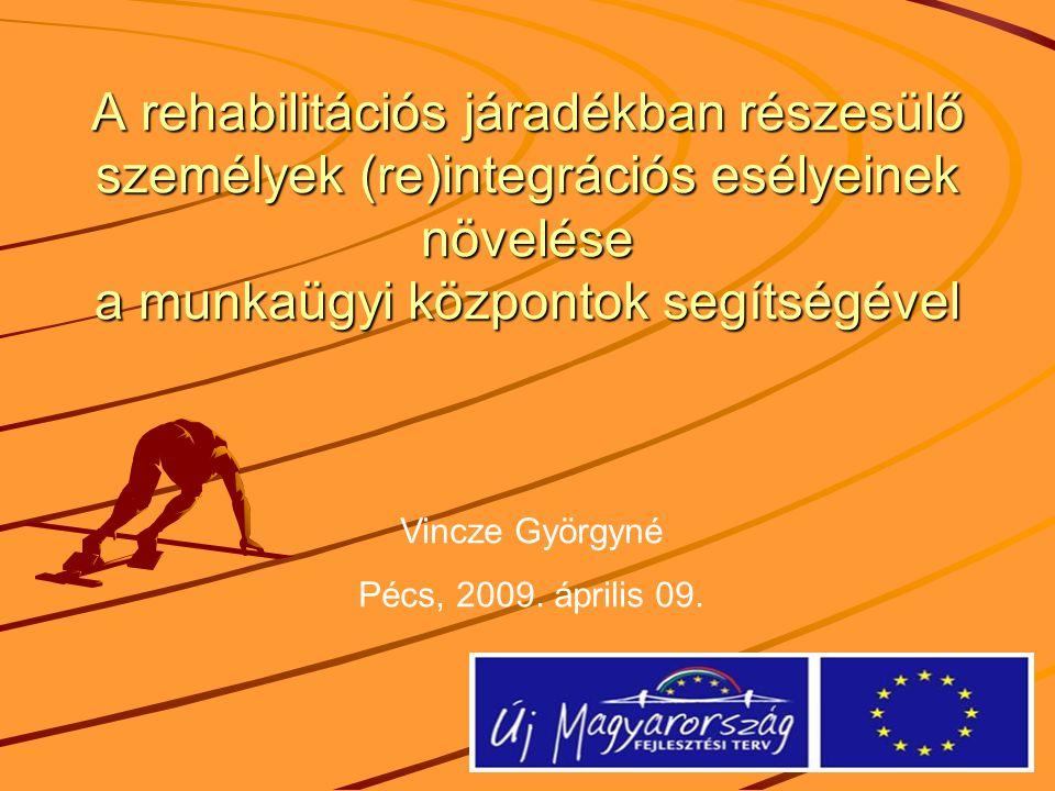 A rehabilitációs járadékban részesülő személyek (re)integrációs esélyeinek növelése a munkaügyi központok segítségével Vincze Györgyné Pécs, 2009.