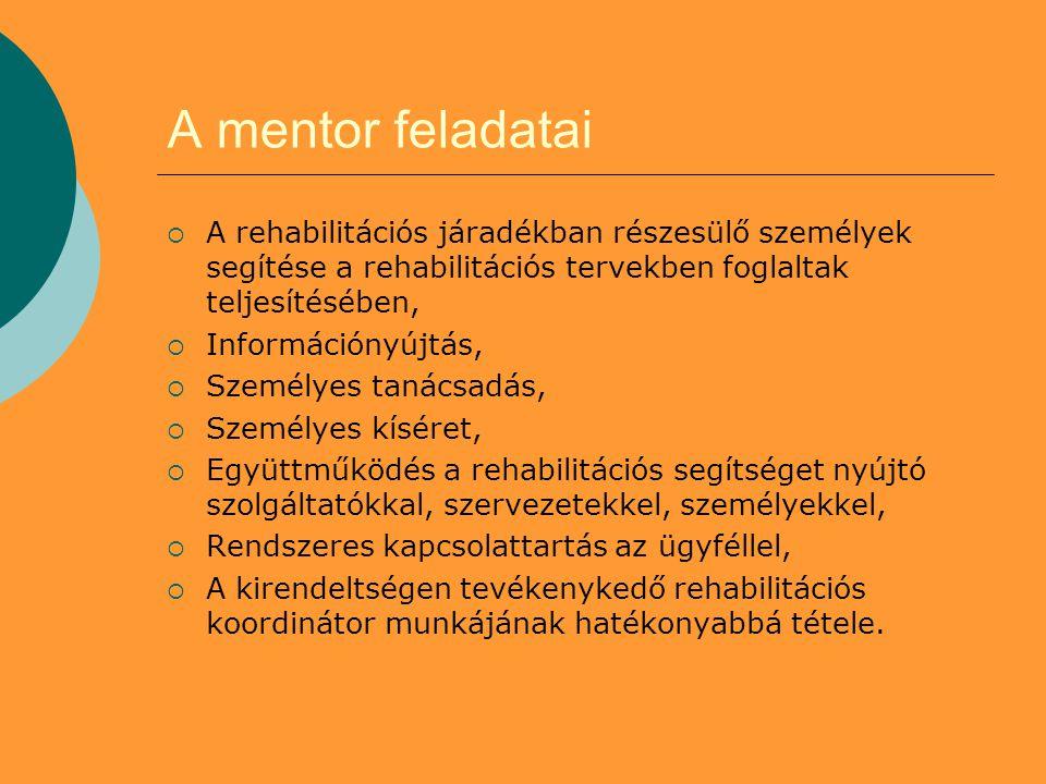 A mentor feladatai  A rehabilitációs járadékban részesülő személyek segítése a rehabilitációs tervekben foglaltak teljesítésében,  Információnyújtás,  Személyes tanácsadás,  Személyes kíséret,  Együttműködés a rehabilitációs segítséget nyújtó szolgáltatókkal, szervezetekkel, személyekkel,  Rendszeres kapcsolattartás az ügyféllel,  A kirendeltségen tevékenykedő rehabilitációs koordinátor munkájának hatékonyabbá tétele.