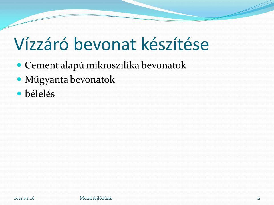Vízzáró bevonat készítése  Cement alapú mikroszilika bevonatok  Műgyanta bevonatok  bélelés 2014.02.26.11Merre fejlődünk