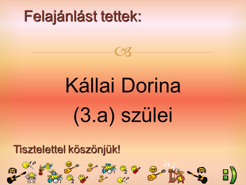 Felajánlást tettek: Tisztelettel köszönjük!  Kállai Dorina (3.a) szülei