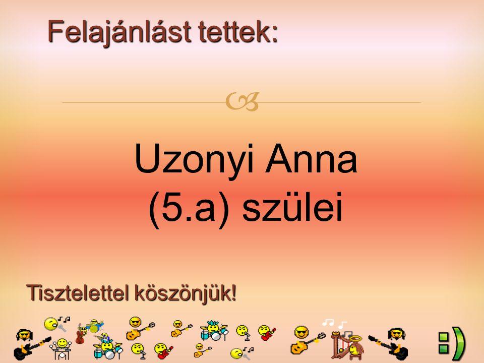 Felajánlást tettek: Tisztelettel köszönjük!  Uzonyi Anna (5.a) szülei