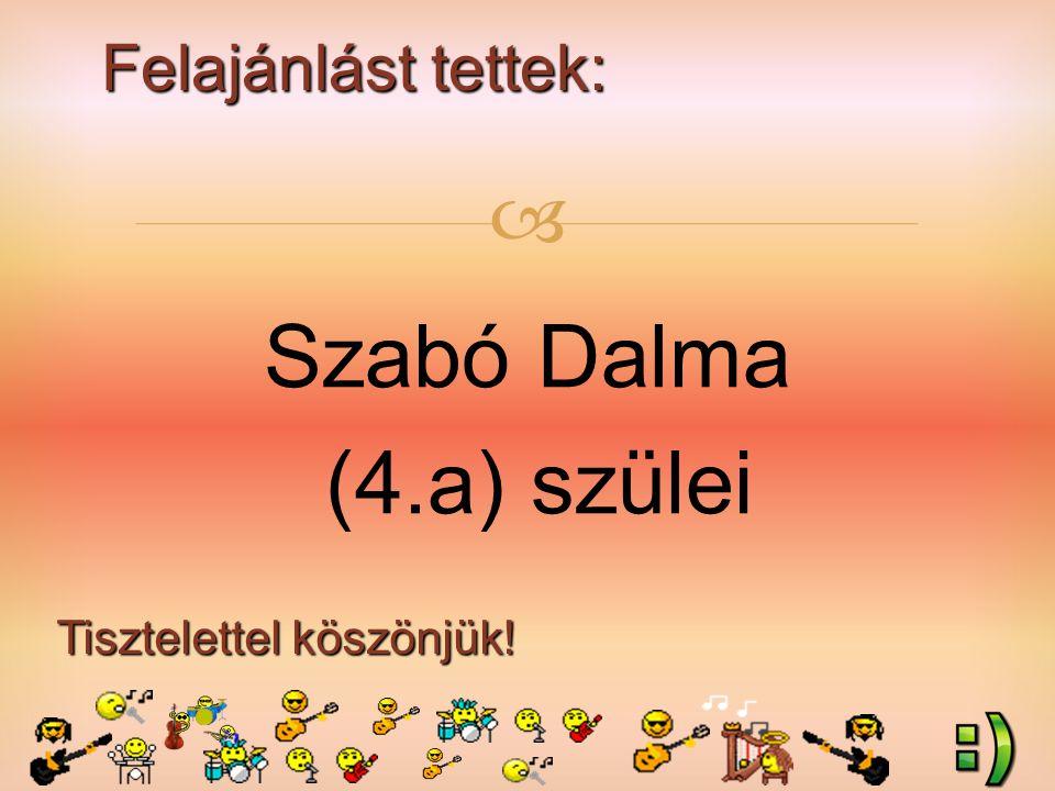 Felajánlást tettek: Tisztelettel köszönjük!  Szabó Dalma (4.a) szülei