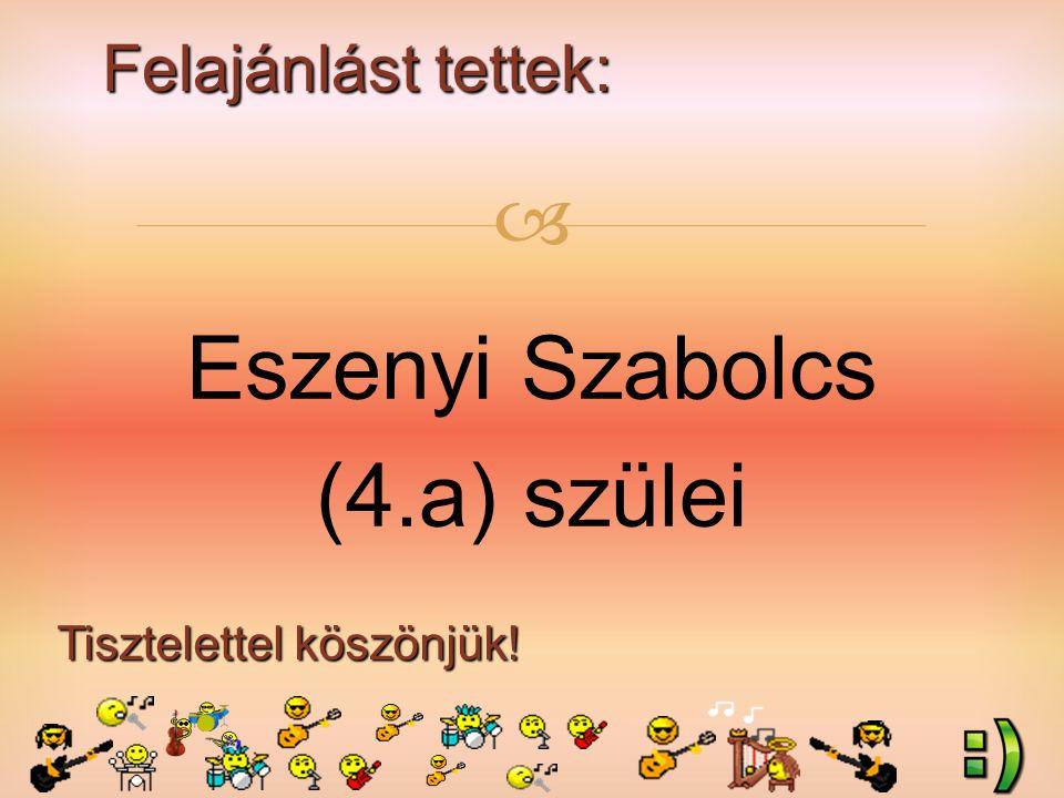 Felajánlást tettek: Tisztelettel köszönjük!  Eszenyi Szabolcs (4.a) szülei