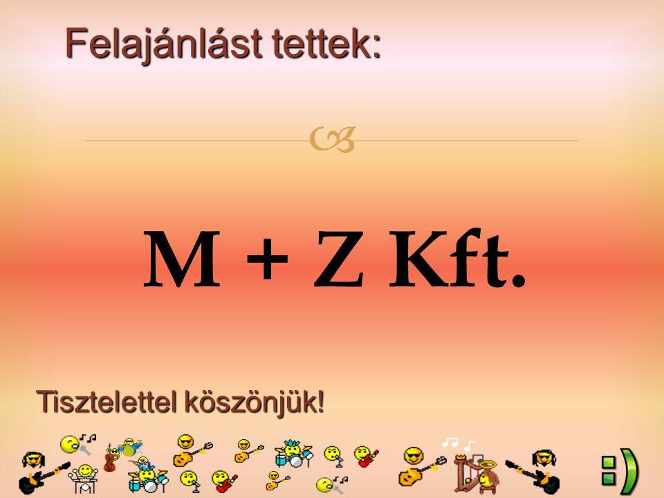 Felajánlást tettek: Tisztelettel köszönjük!  M + Z Kft.