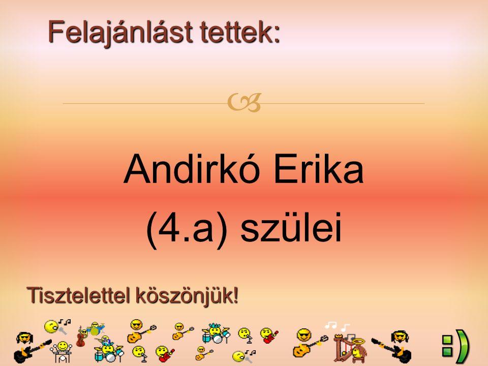 Felajánlást tettek: Tisztelettel köszönjük!  Andirkó Erika (4.a) szülei