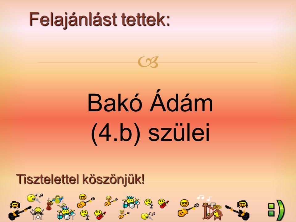 Felajánlást tettek: Tisztelettel köszönjük!  Bakó Ádám (4.b) szülei