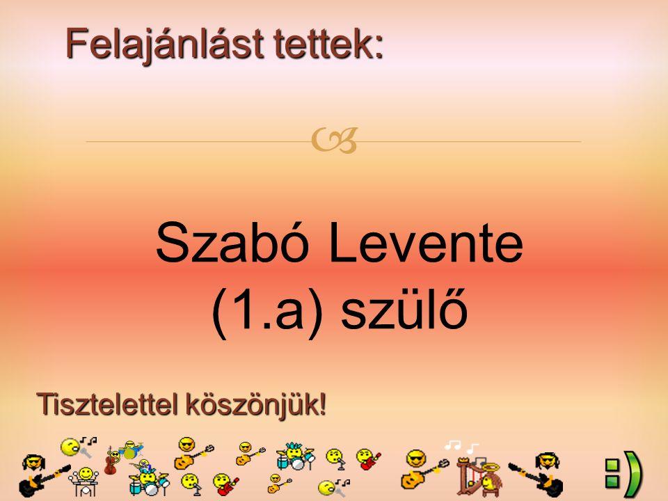 Felajánlást tettek: Tisztelettel köszönjük!  Szabó Levente (1.a) szülő