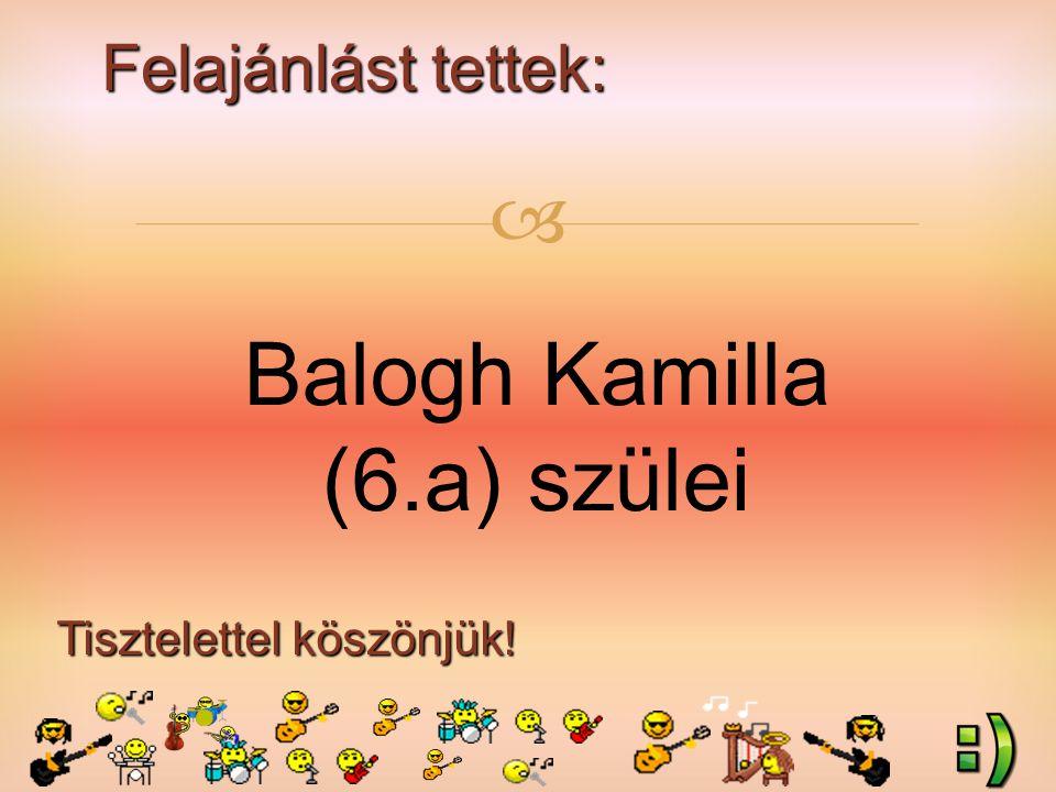 Felajánlást tettek: Tisztelettel köszönjük!  Balogh Kamilla (6.a) szülei