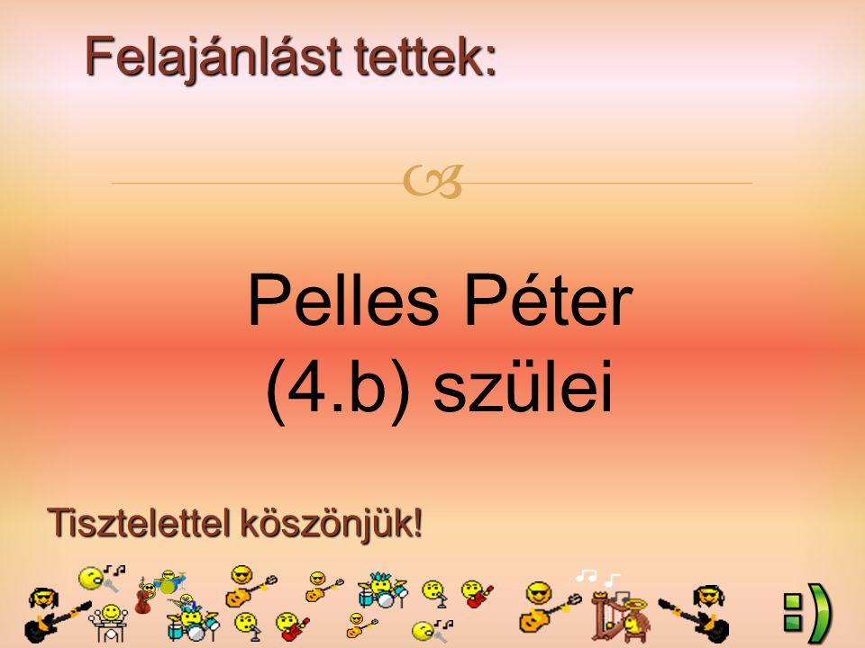 Felajánlást tettek: Tisztelettel köszönjük!  Pelles Péter (4.b) szülei