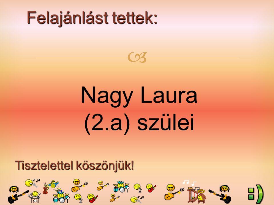 Felajánlást tettek: Tisztelettel köszönjük!  Nagy Laura (2.a) szülei