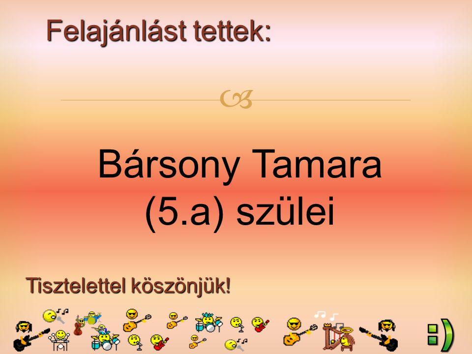 Felajánlást tettek: Tisztelettel köszönjük!  Bársony Tamara (5.a) szülei