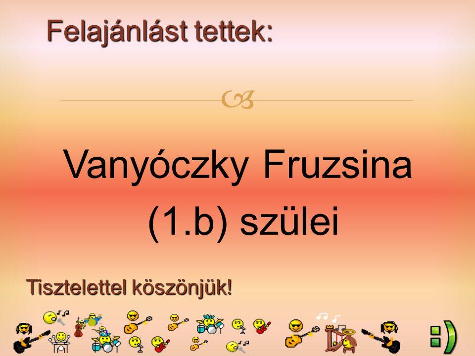 Felajánlást tettek: Tisztelettel köszönjük!  Vanyóczky Fruzsina (1.b) szülei