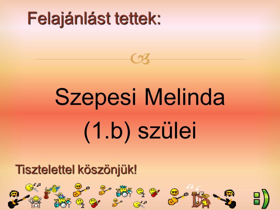 Felajánlást tettek: Tisztelettel köszönjük!  Szepesi Melinda (1.b) szülei